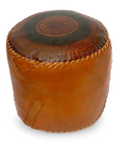 Leather ottoman cover, 'Round Constellations' - Hand Crafted Leather Ottoman Cover from Brazil