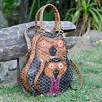 Leather shoulder bag, 'Mamma Owl' - Leather Shoulder Bag from Brazil