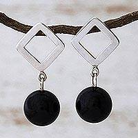 Onyx chandelier earrings,
