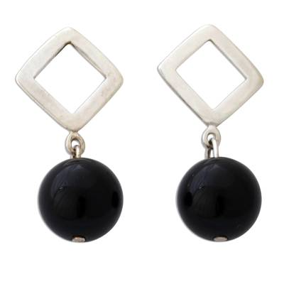 Unique Modern Sterling Silver and Onyx Earrings