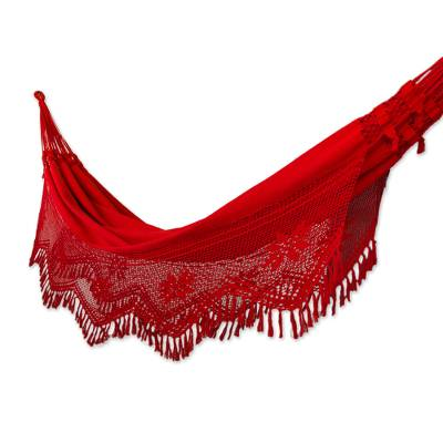Handcrafted Cotton Solid Fabric Hammock (Double)