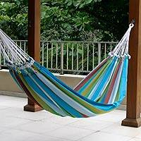 Cotton hammock, 'Tropical Day' (double) - Cotton Striped Fabric Hammock (Double)