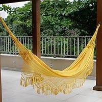 Cotton hammock, 'Amazon Sun' (double) - Fair Trade Sustainable Fabric Hammock from Brazil
