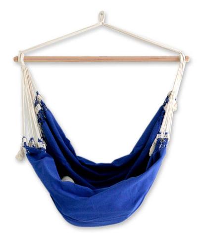 Cotton Solid Blue Swing Hammock