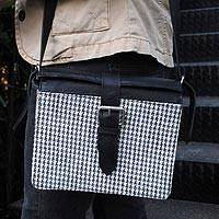 Cotton and leather accent briefcase Copacabana Retro Brazil