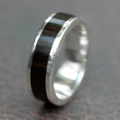 Men's silver and wood band ring, 'Strength' - Men's Fair Trade Fine Silver Wood Band Ring