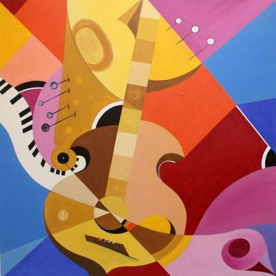 'Violin' (2011) - Colorful Cubist Painting from Brazil