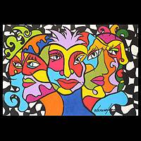 'Colorful Masks' - Original Acrylic Painting
