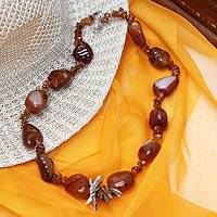 Agate beaded necklace, 'Fiery Sky' - Agate beaded necklace