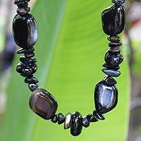 Agate beaded necklace, 'Falcon Mystique' - Agate beaded necklace