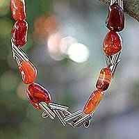 Agate beaded necklace, 'Volcano' - Agate beaded necklace