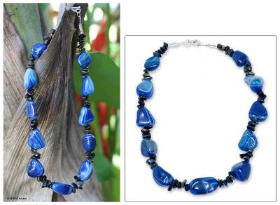 Agate beaded necklace, 'Blue Cassange' - Brazilian Beaded Agate Necklace