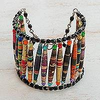 Recycled paper wristband bracelet, 'Love Stories' - Unique Recycled Paper Wristband Bracelet