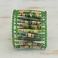 Recycled paper wristband bracelet, 'Nature Tales' - Recycled paper wristband bracelet