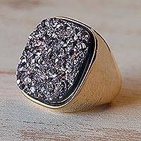 Brazilian drusy agate cocktail ring, 'Violet Majesty' - Gold Plated Drusy Cocktail Ring