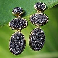 Brazilian drusy agate earrings, 'Southern Twilight' (3-in-1) - Brazilian drusy agate earrings (3-in-1)