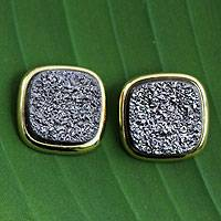 Gold plated drusy agate button earrings, 'Purple Galaxy' - Gold plated drusy agate button earrings