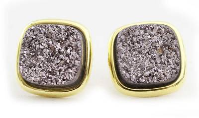 Gold plated drusy agate button earrings