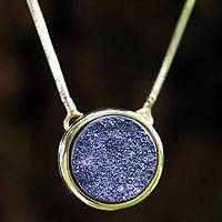 Brazilian drusy agate pendant necklace, 'Purple Cosmos' - Brazilian drusy agate pendant necklace