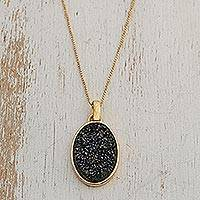 Brazilian drusy agate pendant necklace, 'Galactic Black' - Handcrafted Gold Plated Drusy Pendant Necklace