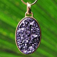 Brazilian drusy agate pendant necklace, 'Galactic Purple' - Artisan Crafted Gold Plated Drusy Pendant Necklace