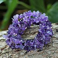Amethyst beaded bracelets, 'Wonders' (set of 3) - Handcrafted Beaded Amethyst Bracelets (Set of 3)