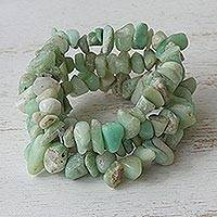 Featured review for Chrysoprase beaded bracelets, Light Green Wonders (set of 3)