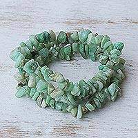 Chrysoprase beaded bracelets, 'Wonders' (set of 3) - Unique Chrysoprase Beaded Bracelets (Set of 3)