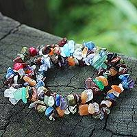 Amazonite and quartz beaded bracelets,