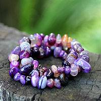 Agate beaded bracelets, 'Wonders' (set of 3) - Brazilian Good Fortune Stretch Agate Bracelets (Set of 3)
