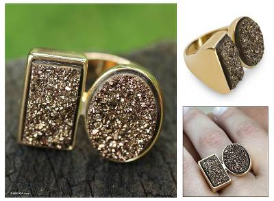 mexican silver flower ring - Modern Gold Plated Drusy Cocktail Ring