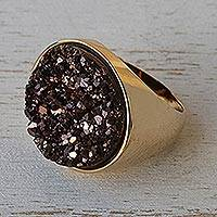 Brazilian drusy agate cocktail ring, 'Golden Twilight' - Brazilian drusy agate cocktail ring
