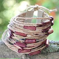 Bamboo and leather wristband bracelet, 'Amazon Grapes' - Bamboo and leather wristband bracelet