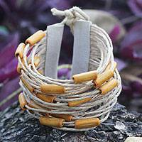 Bamboo and leather wristband bracelet, 'Yellow Amazon' - Bamboo and Leather Wristband Bracelet