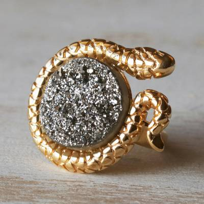 Gold Plated Drusy Cocktail Ring