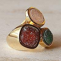 Brazilian drusy agate cocktail ring, 'Color Trio' - Fair Trade Gold Plated Drusy Cocktail Ring