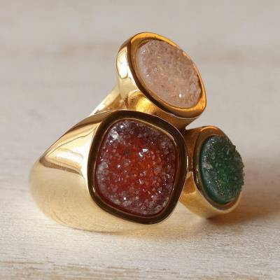 Brazilian drusy agate cocktail ring, Color Trio
