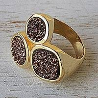 Brazilian drusy agate cocktail ring, 'Bronze Trio' - Brazilian drusy agate cocktail ring