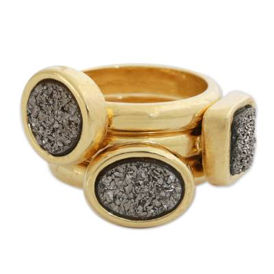 Gold Plated Drusy Agate Stacking Rings (Set of 3)