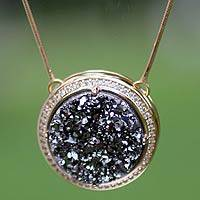 Brazilian drusy agate pendant necklace, 'Moon Shadow' - Gold Plated Brazilian Drusy Pendant Necklace