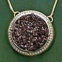 Brazilian drusy agate pendant necklace, 'Bronze Moon' - Gold Plated Pendant Drusy Necklace from Brazil