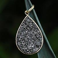 Brazilian drusy agate pendant,