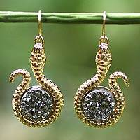 Brazilian drusy agate dangle earrings, 'Silvery Serpent' - Brazilian Drusy Snake Earrings