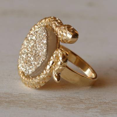 Fair Trade Gold Plated Drusy Cocktail Ring