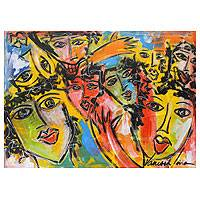 'Faces in the Crowd' - Acrylic Mixed Media Painting