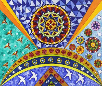 'Traveling with the Birds' - Mandala Painting from Brazil
