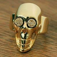 Brazilian drusy agate cocktail ring, 'Deadly Golden Smile' - Brazilian Gold Plated Drusy Skull Ring