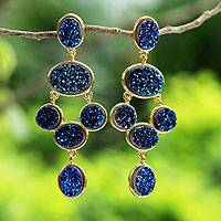 Brazilian drusy agate chandelier earrings, 'Blue Cassange' - Brazilian drusy agate chandelier earrings