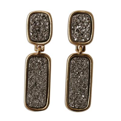 Brazilian drusy agate dangle earrings