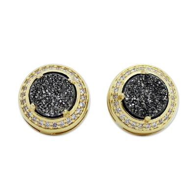 Hand Crafted Gold Plated Button Drusy Earrings